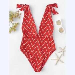 Red Chevron One Piece Deep V-neck Swimsuit